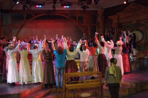 Director Bob Navis Jr. (back center) prepares the Ragtime cast for a May 2012 dress rehearsal. Photo by Terry Schordock.