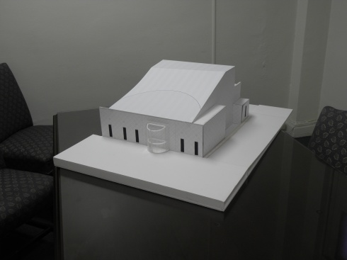 Plain-vanilla models like this one are helping us think in detail about what will ultimately be a colorful, striking exterior.