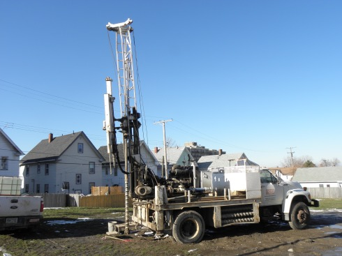 It takes a rig this tall -- seen here on Jan. 9, right about where the Nov. 27 groundbreaking circle gathered -- to sample 50 feet below the surface.