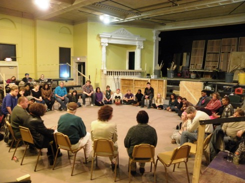 Thirty-two cast, crew and staff members circled up for the conversation with David Ayers and Carrie Wood in the St. Pat's space being prepared for in-the-round performances of Jacques Brel in May.