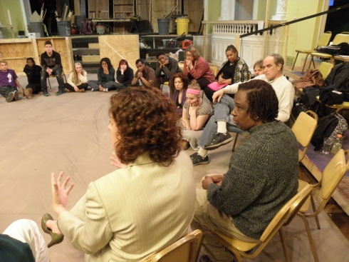 David Ayers (right foreground) and attorney Carrie Wood of the Ohio Innocence Project, met with the Jacques Brel cast on March 25, 2013. Photo by Hans Holznagel
