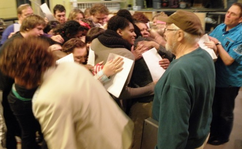 With words spoken and song sung, all that was left for the cast to do was mob David Ayers with a group hug.
