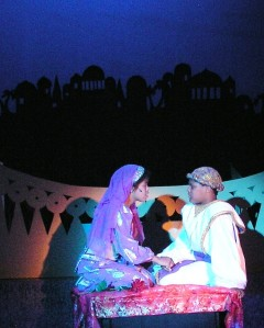 Autumn Smith (left, as Princess Jasmine) with Jason Dugger as the title character in Aladdin (2006).