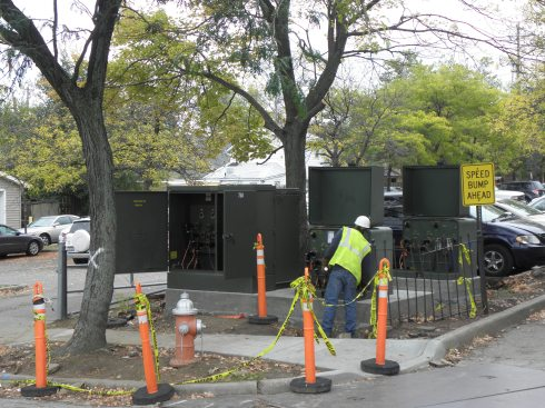 New ground-mounted transformers, seen here Oct. 17, occupy the southwest corner of the parking lot north of the Gordon Square Arcade Building.