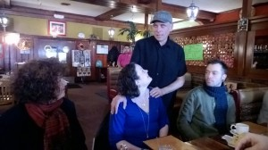 Lindsay Doerr (center) surrounded by staffers Steph, Bob and Perren at a Jan. 17 farewell lunch. Photo by Hans Holznagel