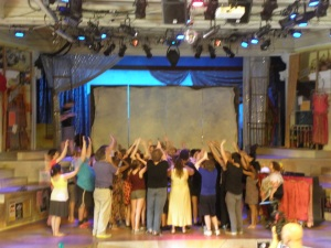 The Move On! reaches skyward before the last show ever at St. Pat's.