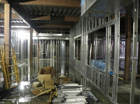 The windows that will serve our lower-level refreshment counter were becoming visible on Aug. 20.