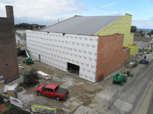 The Near West Theatre construction site in the Gordon Square Arts District, viewed frmo the southeast on Sept. 12, 2014. Photo by Hans Holznagel