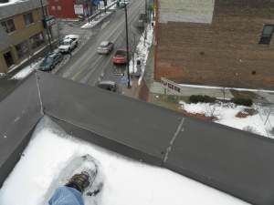 A selfie of my foot at the perch above Detroit Avenue and West 67th Street, where I've taken construction pictures for the past year.