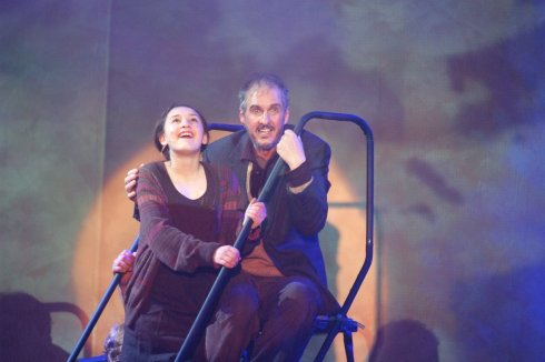 "Hans Holznagel ""journeying on"" as Tateh, with Alana Jarrell as Little Girl, in Ragtime, May 2012."