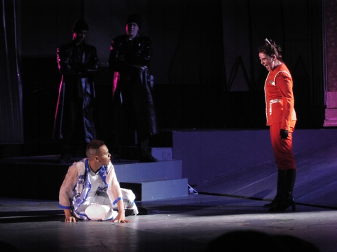Katie Klaus (right) as Pontius Pilate, with Carlos Cruz as Jesus, in Jesus Christ Superstar (2003). Photo by Rob Sommerfelt