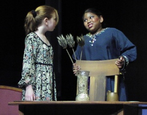 Mariah Burks (right) with Molly Nagin in The Truth About Cinderella (2002).