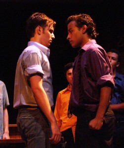 Danny Caraballo (r.) as Bernardo, with Max Kantor as Tony, in NWT's West Side Story (2008).