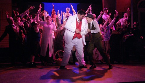 As Harold Hill, with Joe Kenders as Marcellus, in The Music Man (2006)