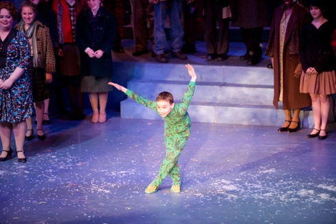 Phil Pantalone (Randy) during the bows in A Christmas Story, the Musical (2013). Photo by Terry Schordock